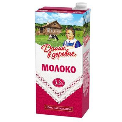 Молоко Домик в деревне 3,2% 1,450гр (8шт.)