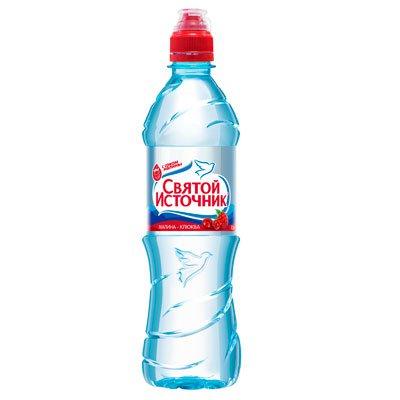 Вода Святой Источник малина и клюква 0.5 литра, без газа, пэт, 12шт. в уп.