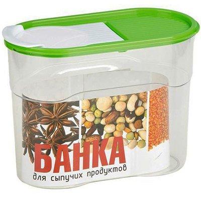 Банка Полимербыт для сыпучих продуктов 1,1л (зеленая крышка)