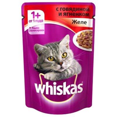Корм для кошек Whiskas рагу с говядиной и ягненком 100гр (24шт)
