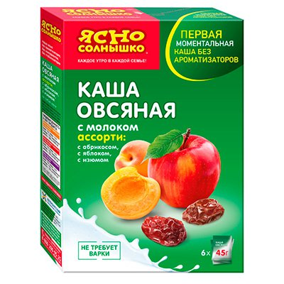 Каша овсяная Ясно солнышко ассорти №3 (яблоко,абрикос,изюм) 270гр. (1шт.)
