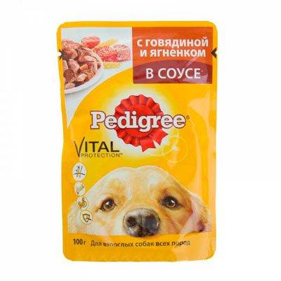 Корм для собак Pedigree говядина ягненок в соусе (100гр) (24шт)