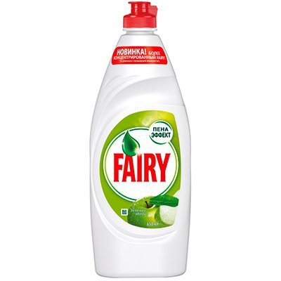 Средство для мытья посуды Fairy зеленое яблоко 650 мл.