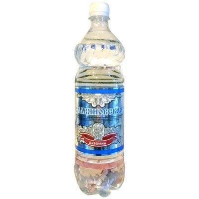 Вода Славяновская 1 литр, газ, пэт, 6шт. в уп.