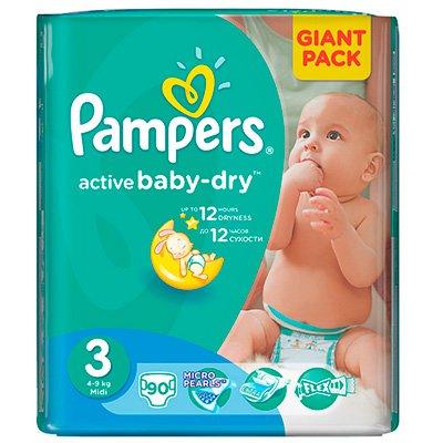 Подгузники Pampers Active Baby--dry Midi (3) 4-9 кг (82шт)