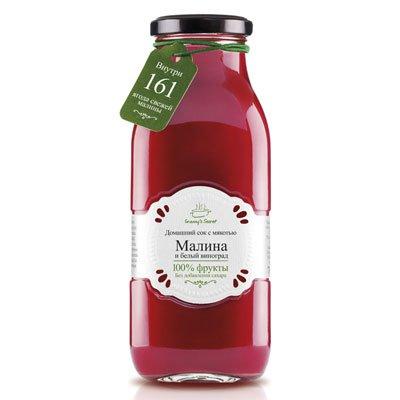 Фруктовый сок с мякотью Granny's Secret Малина и белый виноград 0,7л (6шт.)