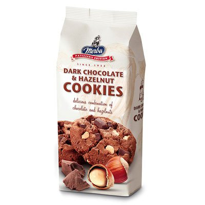 Печенье MERBA фундук с горьким шоколадом 200гр