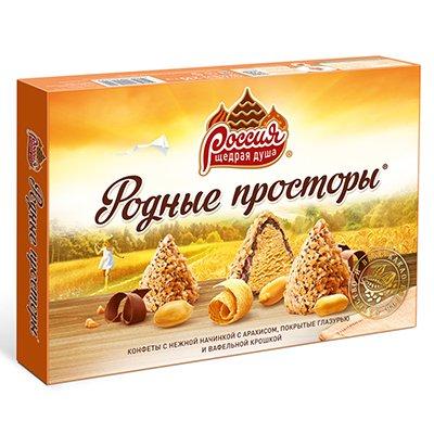 Конфеты Родные Просторы с арахисом, глазурью и вафельной крошкой 235гр (1шт.)