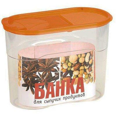 Банка Полимербыт для сыпучих продуктов 1,1л. (оранжевая крышка)