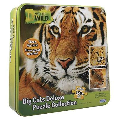 Пазл 3 в одном (большие и роскошные дикие кошки: гепард, тигр и лев)