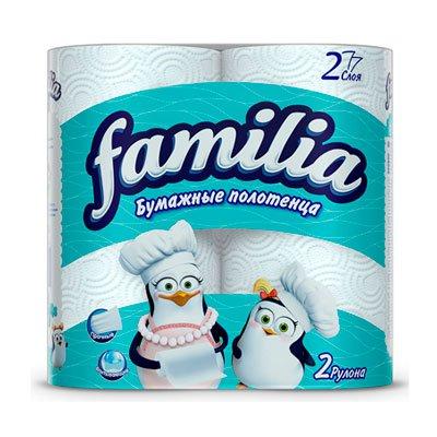 Бумажные полотенца HAYAT Familia белые 2-сл (2шт)
