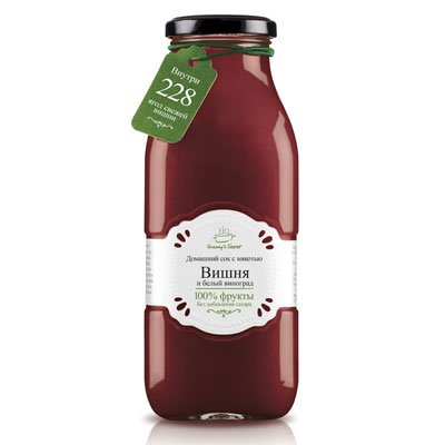Фруктовый сок с мякотью Granny's Secret Вишня и белый виноград 0,7л (6шт.)