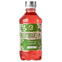 Чай Kombucha зеленый Lava Superfood гибискус 0.33 литра, газ, пэт, 12 шт. в уп.